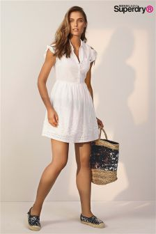 Superdry White Cold Shoulder Tie Sleeve Shirt Dress