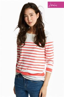 Joules Red And Grey Harbour Block Jersey Top