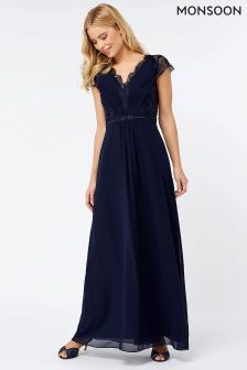 Monsoon Navy Brigitte Lace Maxi Dress