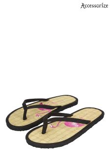 Accessorize Black Flirty Flamingo Seagrass Flip Flop