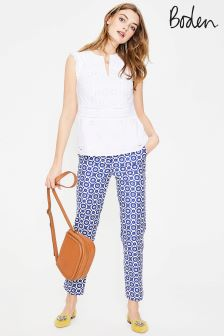 Boden Greek Blue Daisy Chain Richmond 78 Trouser