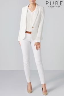 Pure Collection White Laundered Linen Jacket