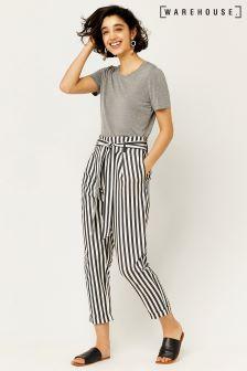 Warehouse Grey/White Stripe Paper Bag Peg Trouser