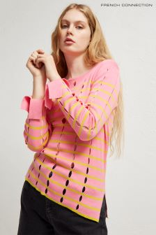 French Connection Pink Lattice Knits Crew Neck Jumper