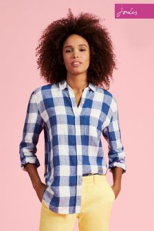 Joules Navy Wallflower Gingham Jeanne Print Shirt