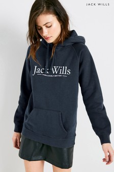 Jack Wills Navy Borrowfield Heritage Longline Hoody