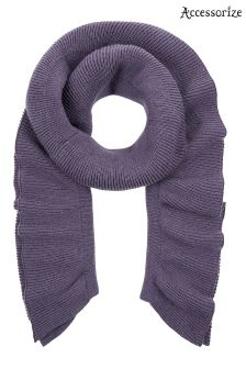 Accessorize Purple Ribbed Frill Scarf