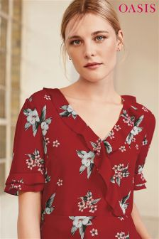 Oasis Red Spaced Havana Floral Tea Top