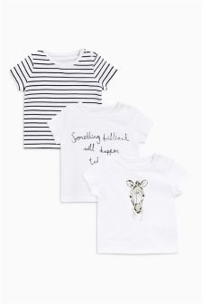 Zebra T-Shirts Three Pack (0mths-2yrs)