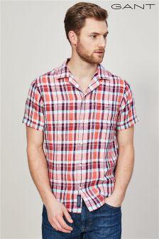 GANT Coral Pink Linen Madras Regular Short Sleeved Riviera Shirt