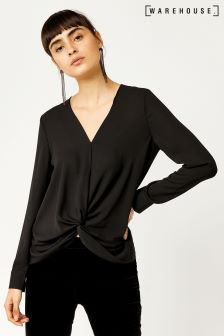 Warehouse Black Knot Front Long Sleeve Top