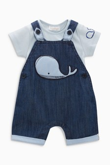 Whale Dungarees And Bodysuit (0mths-2yrs)