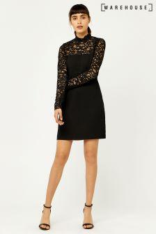 Warehouse Black Lace Top Dress