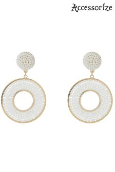 Accessorize White Beaded Circle Hoops