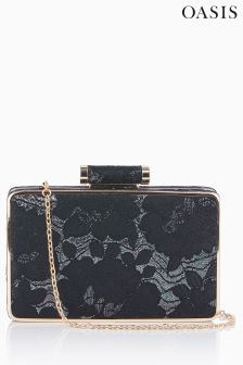 Oasis Black Lace Box Clutch