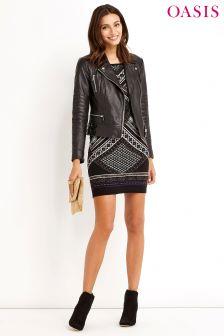 Oasis Black Deco Placement Dress