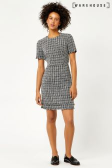 Warehouse Black/White Mono Tweed Dress
