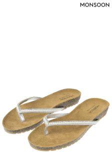 Monsoon Silver Primrose Pearl Footbed Sandal