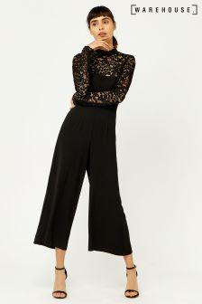 Warehouse Black Lace Top Jumpsuit