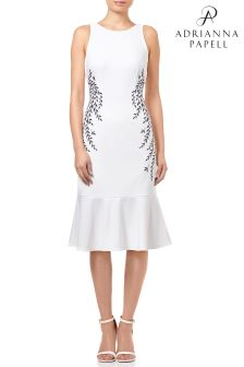 Adrianna Papell White Knit Crepe Embroidered Trumpet Dress