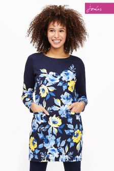 Joules Navy Yellow Rose Quinn Tunic