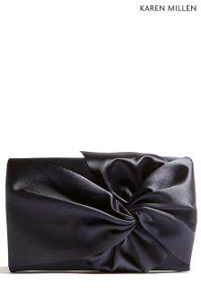 Karen Millen Blue Oversized Bow Clutch