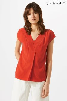 Jigsaw Red V-Neck Top