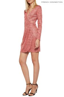 French Connection Pale Pink Linear Jacquard Dress