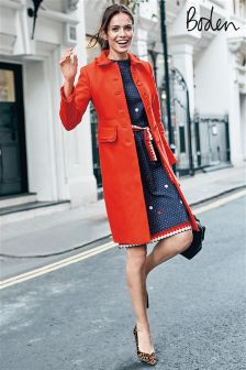 Boden Red Pop Lena Coat