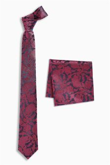 Pattern Tie And Pocket Square Set