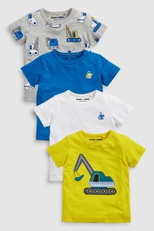 Appliqué Digger T-Shirt Four Pack (3mths-6yrs)