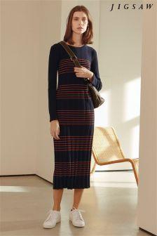 Jigsaw Blue Striped Maxi Dress