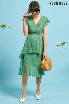 Neon Rose Green Floral Ruffle Midi Dress