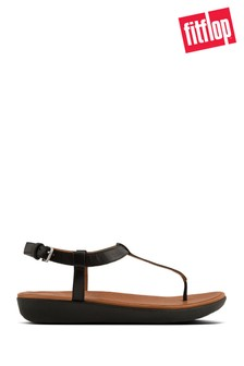 FitFlop™ Black Leather Tia Toe Post Sandal
