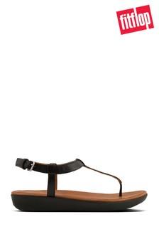 FitFlop™ Black Leather Tia™ Toe Post Sandal