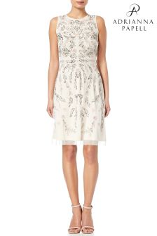 Adrianna Papell Ivory Multicolour Embellished Cocktail Dress