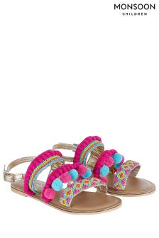 Monsoon Multi Pom Pom Beaded Sandal