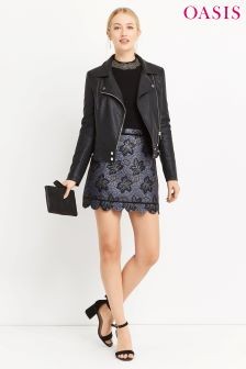 Oasis Multi Nottingham Lace Jacquard Skirt