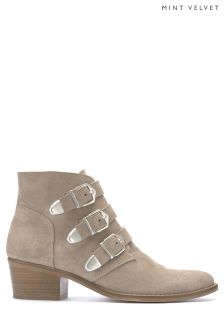Mint Velvet Neutral Lee Triple Buckle Low Boot