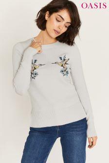 Oasis Grey Illustrator Embroidered Kissing Bird Knit Jumper