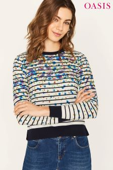 Oasis Black Painted Meadow Printed Stripe Knit Jumper