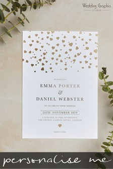 Personalised Confetti Foil Invitation By Wedding Graphics