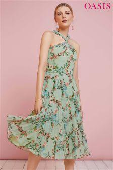 Oasis Green Fitzwilliam Twist Neck Pleated Midi Dress