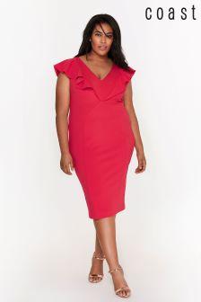 Coast Curve Pink Bonita Ruffle Shift Dress