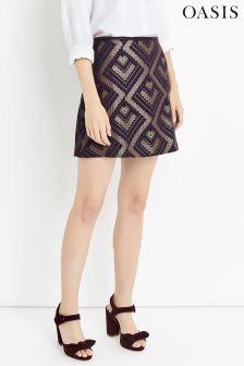 Oasis Multi Rene Jacquard Mini Skirt