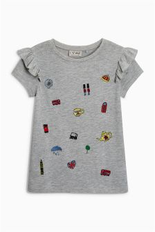 Embroidered Short Sleeve Frill T-Shirt (3-16yrs)