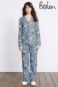 Boden Delph Blue Christmas Cosy Woven Pyjama