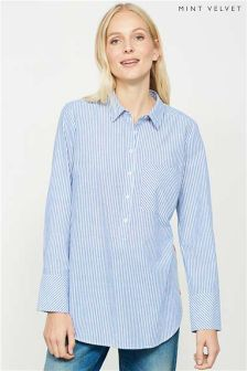 Mint Velvet Blue/White Stripe Shirt