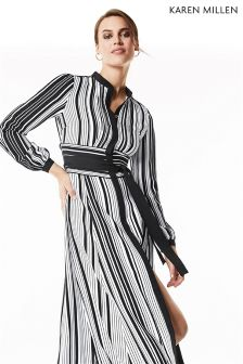 Karen Millen Black Graphic Stripe Midi Dress