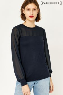 Warehouse Navy Sheer Sleeve Woven Mix Top